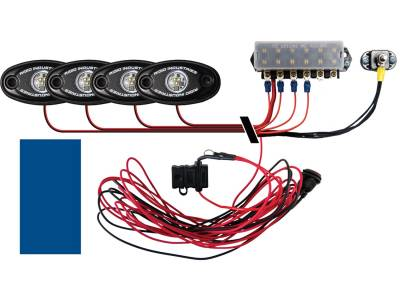 Marine LED Lights - Boat Deck Light Kit - Rigid Industries - Rigid Industries Boat Deck Kit, 4 LIGHTS-BLUE