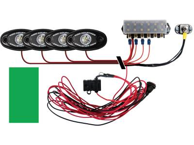 Marine LED Lights - Boat Deck Light Kit - Rigid Industries - Rigid Industries Boat Deck Kit, 4 LIGHTS-GREEN