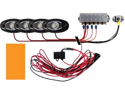 Marine LED Lights - Boat Deck Light Kit - Rigid Industries - Rigid Industries Boat Deck Kit, 4 LIGHTS-AMBER