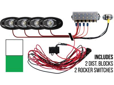 Marine LED Lights - Boat Deck Light Kit - Rigid Industries - Rigid Industries Boat Deck Kit, 4 LIGHTS-2CW 2GR