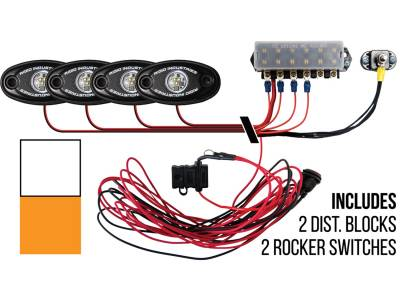 Marine LED Lights - Boat Deck Light Kit - Rigid Industries - Rigid Industries Boat Deck Kit, 4 LIGHTS-2CW-2AM