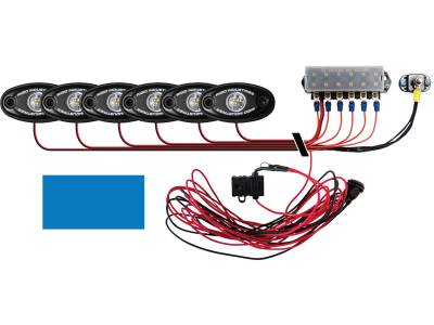 Marine LED Lights - Boat Deck Light Kit - Rigid Industries - Rigid Industries Boat Deck Kit, 6 LIGHTS-BLUE