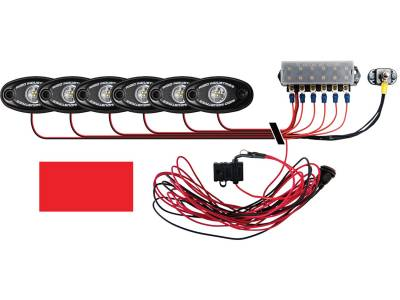 Marine LED Lights - Boat Deck Light Kit - Rigid Industries - Rigid Industries Boat Deck Kit, 6 LIGHTS-RED