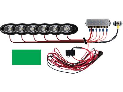 Marine LED Lights - Boat Deck Light Kit - Rigid Industries - Rigid Industries Boat Deck Kit, 6 LIGHTS-GREEN