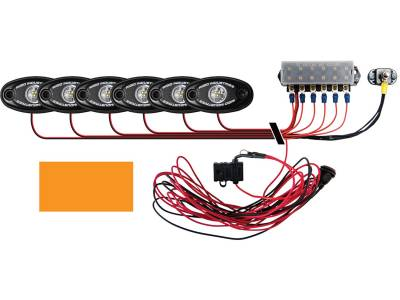 Marine LED Lights - Boat Deck Light Kit - Rigid Industries - Rigid Industries Boat Deck Kit, 6 LIGHTS-AMBER
