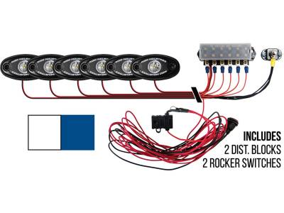 Marine LED Lights - Boat Deck Light Kit - Rigid Industries - Rigid Industries Boat Deck Kit, 6 LIGHTS-2CW 4BL