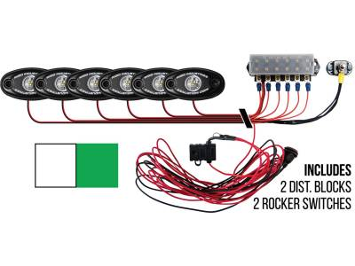 Marine LED Lights - Boat Deck Light Kit - Rigid Industries - Rigid Industries Boat Deck Kit, 6 LIGHTS-2CW 4GR